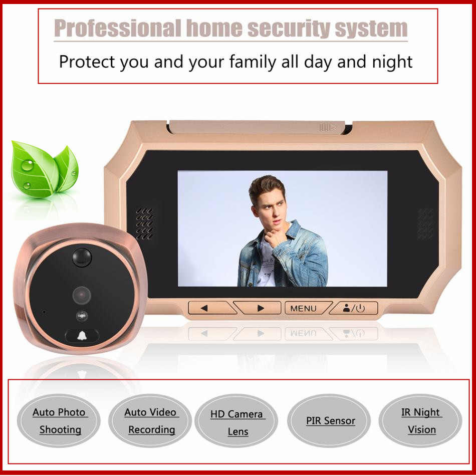 4.3inch LCD Screen Peephole Viewer Camera Home Security System HD Visual Video Digital Doorbell IR Night Vision US Plug 100-240V ...