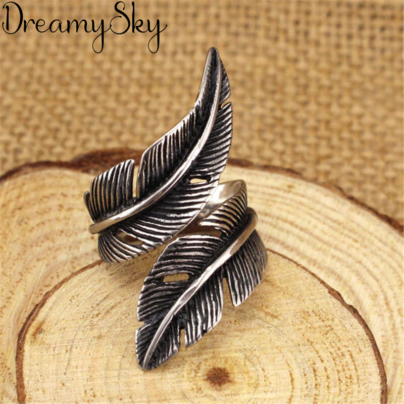 Punk Retro Silver Color  Feather Rings For Women Ladies Jewelry Big Finger Antique Rings Girls Gifts Anillos High Quality