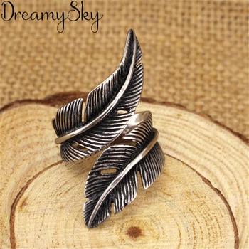 Женские перьевые кольца в стиле панк, ретро, серебряного цвета, ювелирные изделия для женщин, античные кольца с большим пальцем, подарки для ...