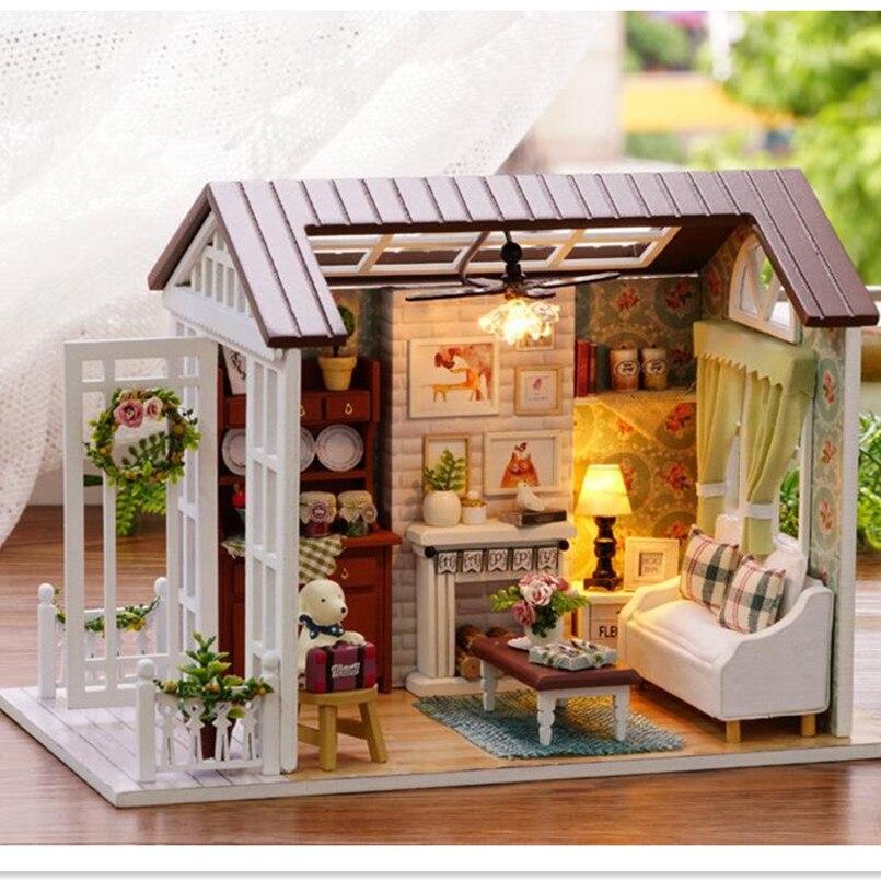 """""""gelukkig Keer"""" Diy Houten Speelgoed Huis Miniatuur 3d Houten Puzzel Poppenhuis Miniaturas Meubelen Huis Pop Voor Kid Verjaardagscadeau Speelgoed 50% Korting"""