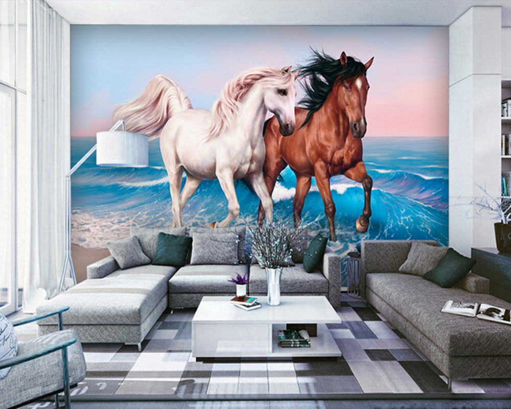 Custom 3d horse wallpaper, couples steed paintings for the sitting room bedroom TV setting wall silk cloth papel de parede the imperial image paintings for the mughal court