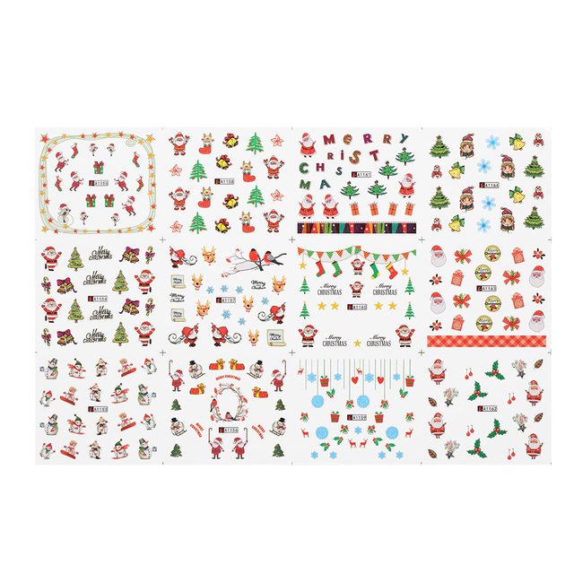 1 sheet christmas nail decals halloween water transfer stickers tips self adhesive nail art decals