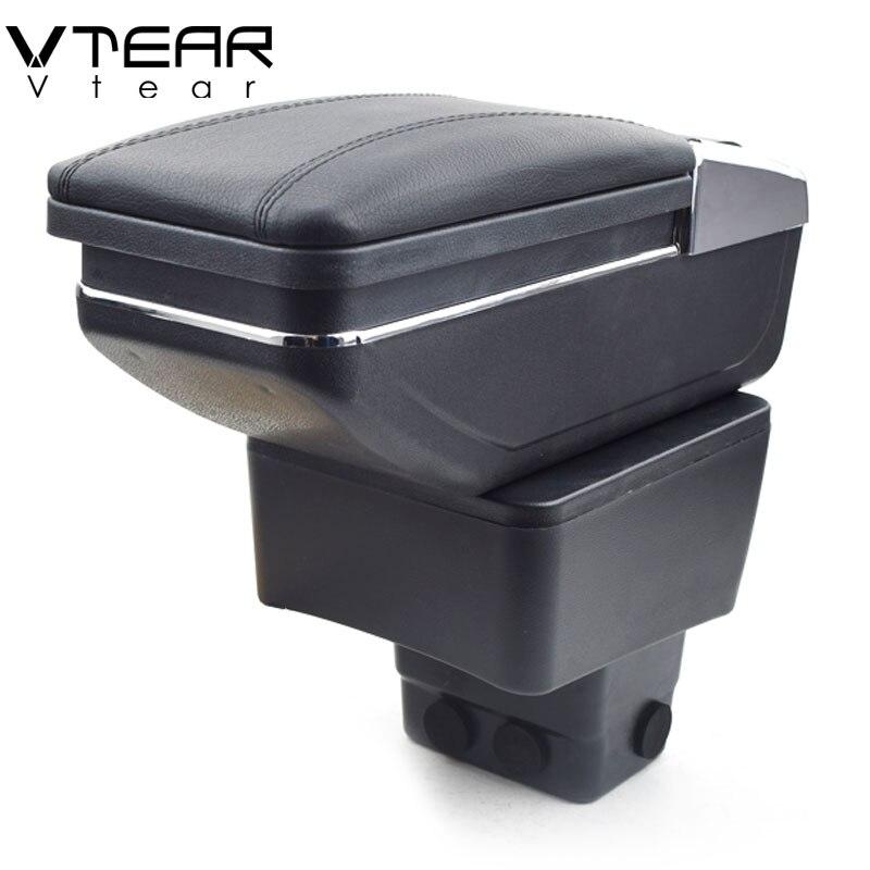 Vtear-apoyabrazos de cuero para coche Mazda CX-3 CX 3 CX3, caja de almacenamiento giratoria, decoración, consola central, auto 2016