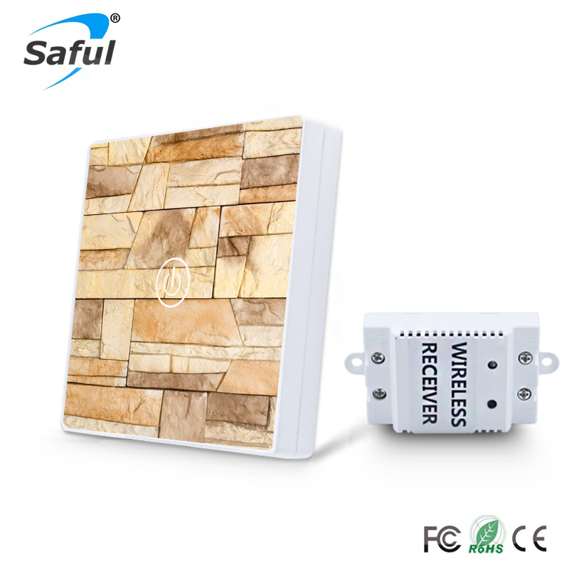 Saful DIY Painting Touch Screen Wall Switch 1 Gang 1 Way Crystal Glass Switch smart home uk standard crystal glass panel wireless remote control 1 gang 1 way wall touch switch screen light switch ac 220v