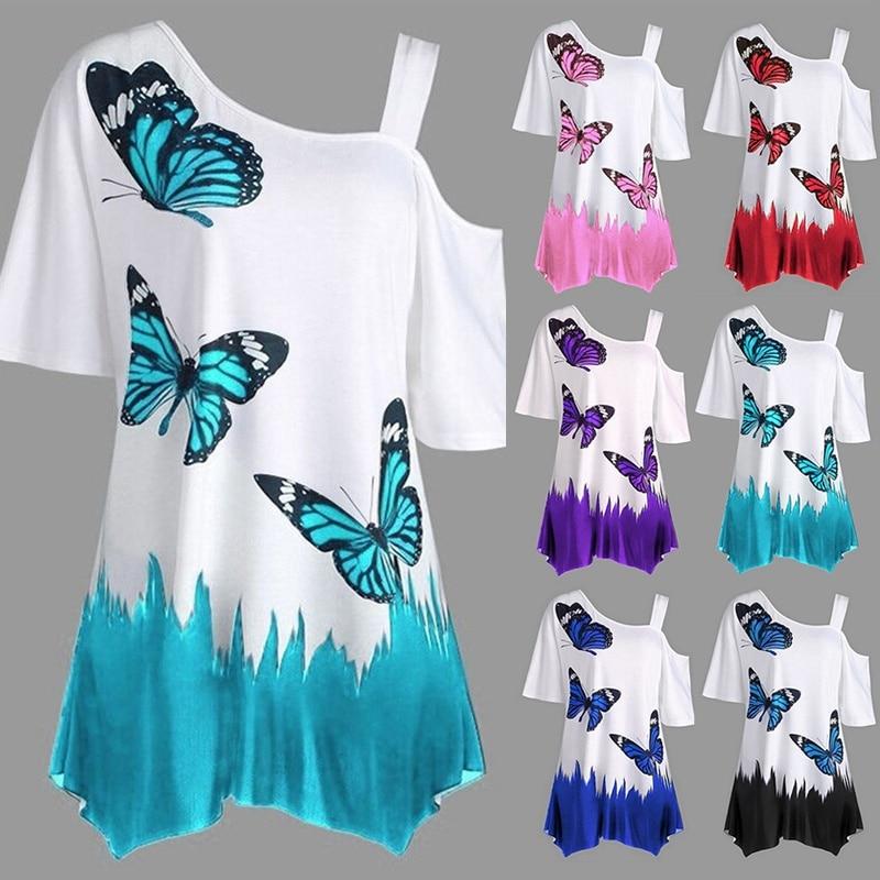 2019 Summer Off One Shoulder Women Loose T-Shirt Long Sleeve Butterfly Print Irragular T Shirt Top Female Tunic Tee