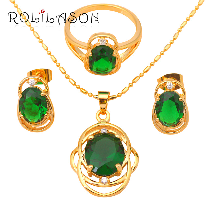Fantastic Peridot Excellent Fashion jewelry gold Tone Green Crystal Jewelry Sets Earrings Necklace Ring #6#7#8#9 JS471 - ROLILASON Store store