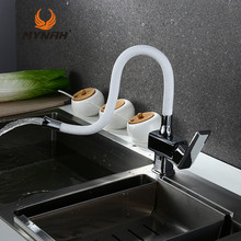 MYNAH Russia Free Shipping Hot And Cold Water Modern Flexible Kitchen Tap Sink Multicolor Rotary Kitchen Faucets White M5849