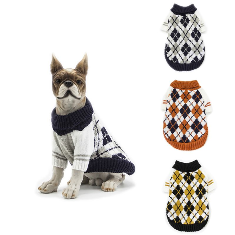 US $2.82 38% OFF|Puppy Cat Sweater Winter Jacket Dogs Autumn And Winter Coat British Style Costume Rhombus Design Knitwear Apparels|Dog Sweaters|