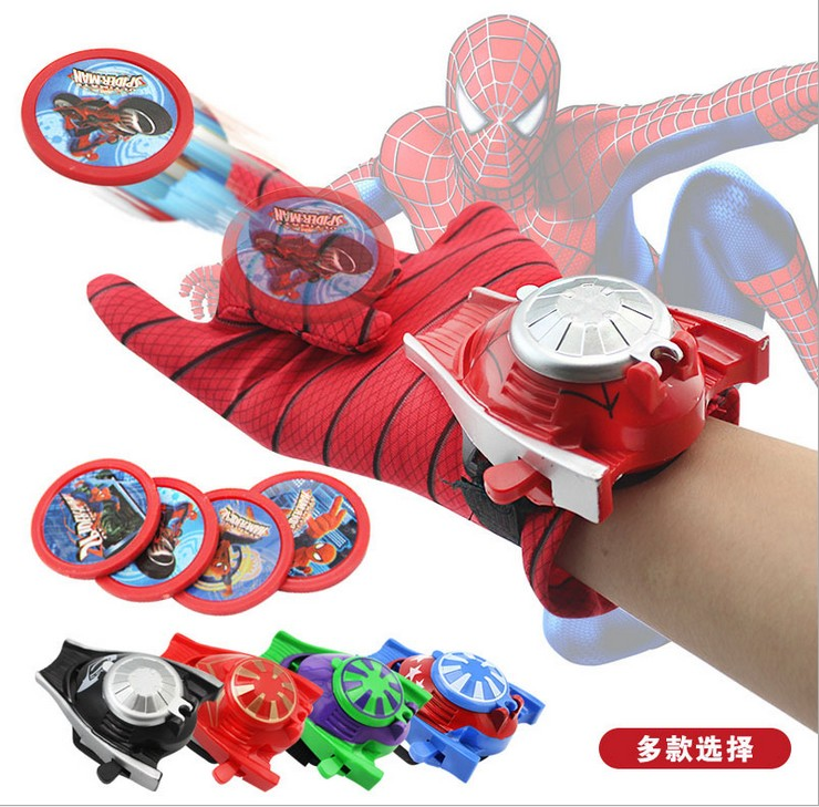 5 Types PVC 24cm spiderman launcher Glove Action Figure Toy Kids Suitable batMan Cosplay Costume Come With Retail Box