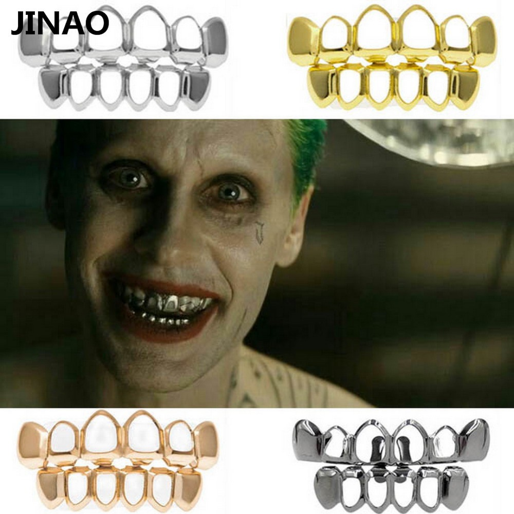 JINAO Hip Hop Gold Grillz Body Jewelry Vampire Hollow Grill Teeth Top & Bottom Grills Dental Mouth Punk Teeth Caps Cosplay Party