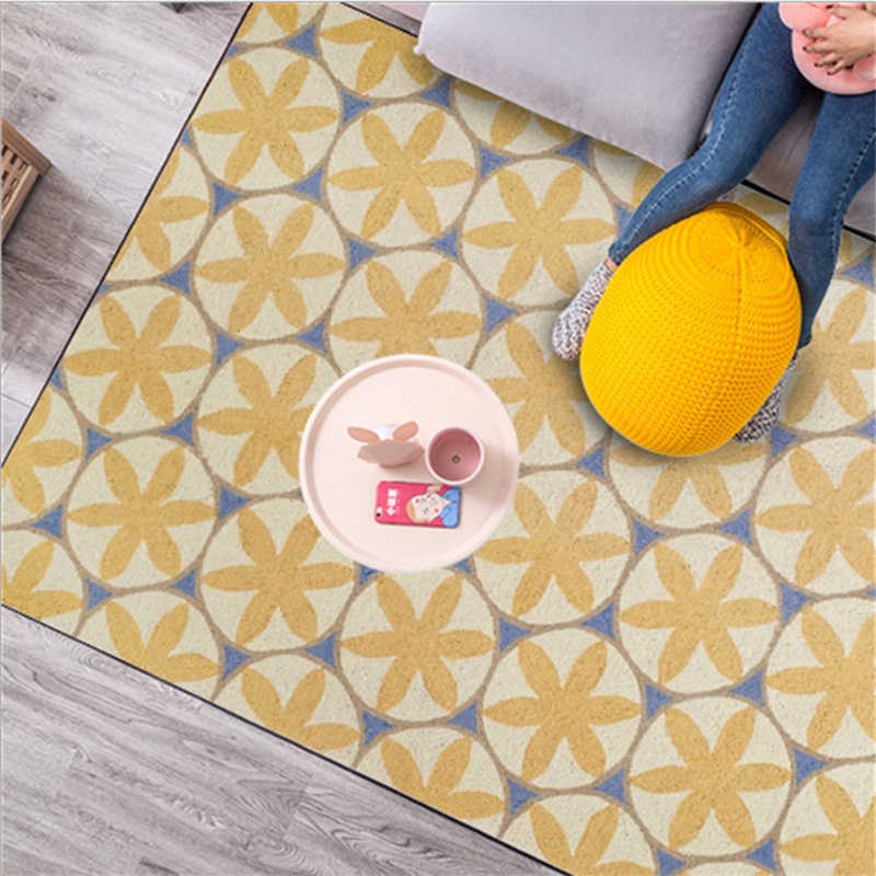 Alfombras nórdicas geométricas flor círculo amarillo cristal corto terciopelo alfombra para sala de estar alfombras para habitación de niños
