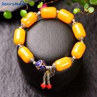 Al por mayor edad amarillo cristal natural pulseras del grano del tambor con asado azul para las mujeres estilo tibetano mano cadena joyería