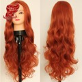 Fashion High Quality Orange Color Long Body Wave Hair Heat Resistant Hair Wigs Synthetic Lace Front Wigs for Women Fast Shipping