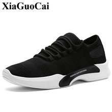 New Casual Shoes Men Fashion All-match Solid Lace-up Fly Weave Light Soft Falts Shoes Walking Train Shoes Summer&Autumn H385 35