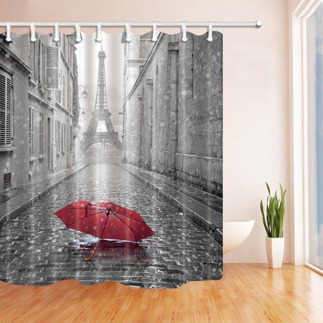 Paris France Decor Red Umbrella In Rain Eiffel Tower Shower Curtain