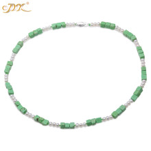 JYX Handmade Gemstone Turquoise Necklace 5.5-6mm Cubic Green Turquoise and White Pearls Necklace for Women 20 stylish turquoise crescent necklace for women