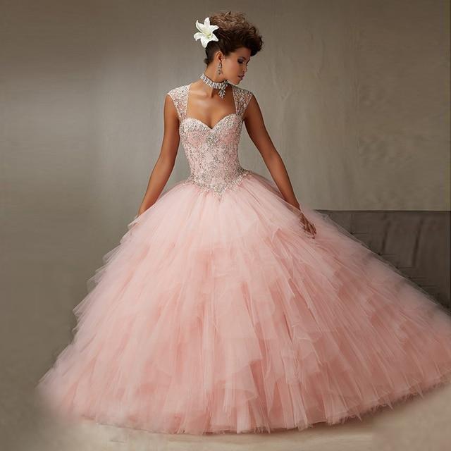 Blush Rosa Tulle vestido de Baile Vestidos Quinceanera 2017 Querida Com Beading Cristal Lace Up Formal Prom Vestidos CR-50