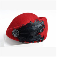 Autumn and Winter Fashion Solid Felt Women 100% Woolen Fedora Hat Cap for Ladies Girls Multi Color Feather Stewardess