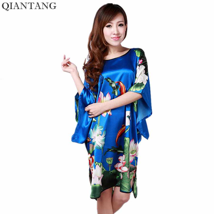 Summer Now Fashion Blue Female Faux Silk Robe Mujer Pijama Chinese Style Ladies Sleepwear Bath Gown Water Lily One Size S0104-A