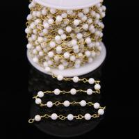 4mm White Coral Gems Brass Bronze Link Chains,Natural Stone Smooth Round Bead Copper Wire Wrapped Rosary Chain Earrings Bracelet