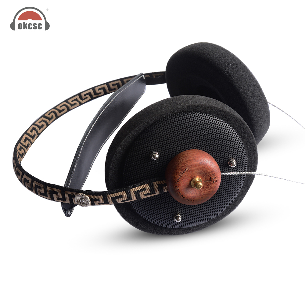 OKCSC ZX1 HiFi Stereo Wooden Over-ear Headphone 57mm Speaker Open Voice Monitor Headset with 3.5mm Silver Plated Cables
