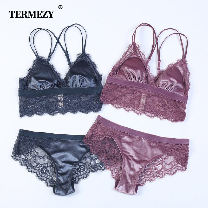 TERMEZY 2019 New Fashion Women Velvet Bra Set Underwear Broad-brimmed Lace Brassiere Wireless Lingerie Soft Trim Bralette Set