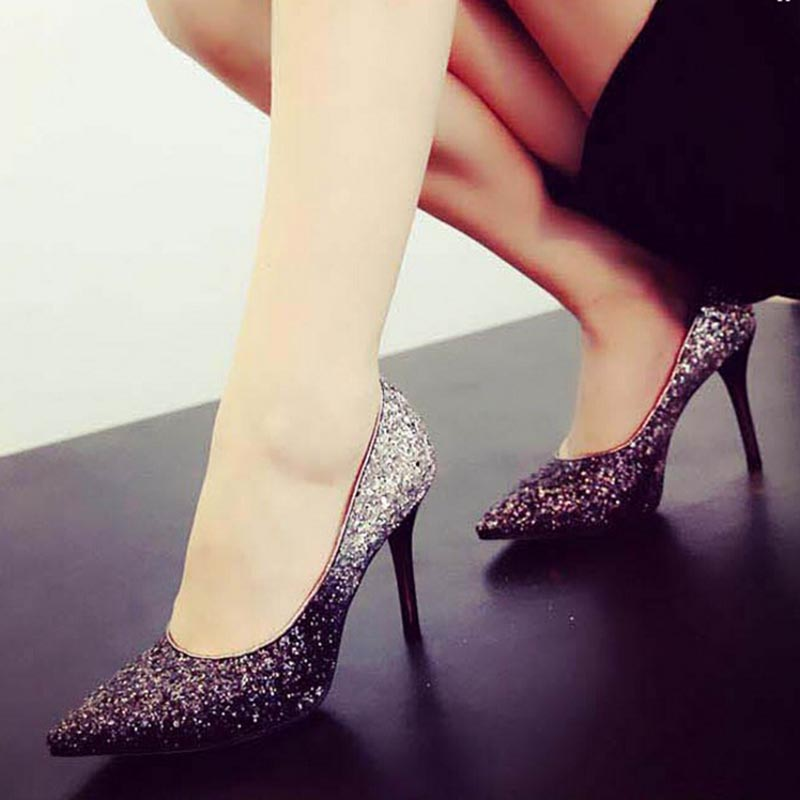 ФОТО Autumn Spring high-heeled fashion crystal wedding shoes fine pointed women's shoes small size 31-33 pluse size40-44
