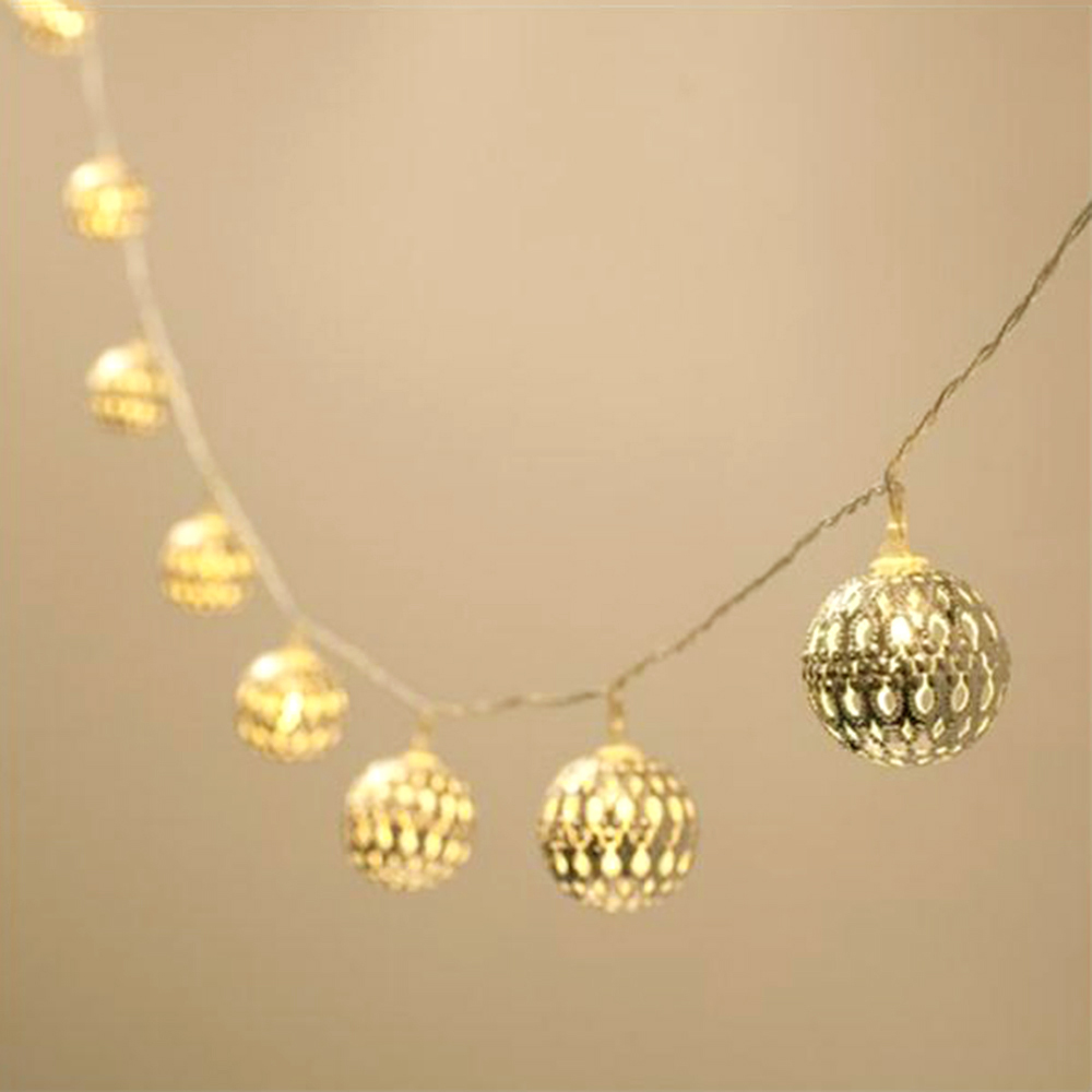 Metal Festoon Ball Garland 20LED String Light Battery Powered Fairy Wedding Outdoor Party Christmas Holiday Decorative Lights JL 5m 20led 10m 35led big ball string light indoor outdoor decorative fairy lighting for christmas trees patio party