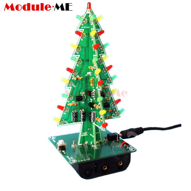 1Set 3D Christmas Tree LED DIY Kit Red/Green/Yellow LED Flash Circuit Kit