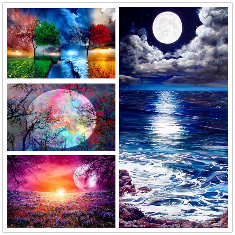 Starry Sky Landscape DIY 5D Full Diamond Painting Cross Stitch Kit Home Decor