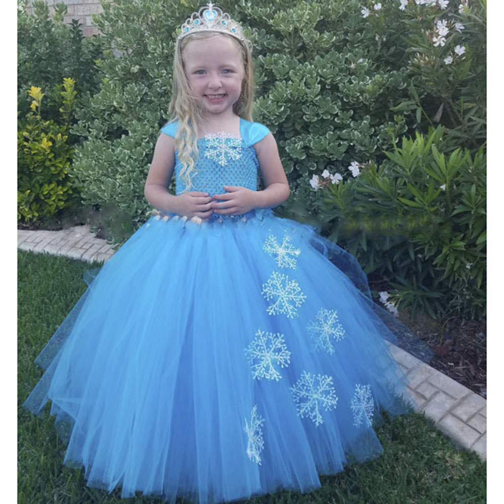 Snow Flake Princess Elsa Tutu Dress Winter Baby Girl Blue Birthday Party Tutu Dresses Kids Halloween Christmas New Year Costume fancy girl mermai ariel dress pink princess tutu dress baby girl birthday party tulle dresses kids cosplay halloween costume