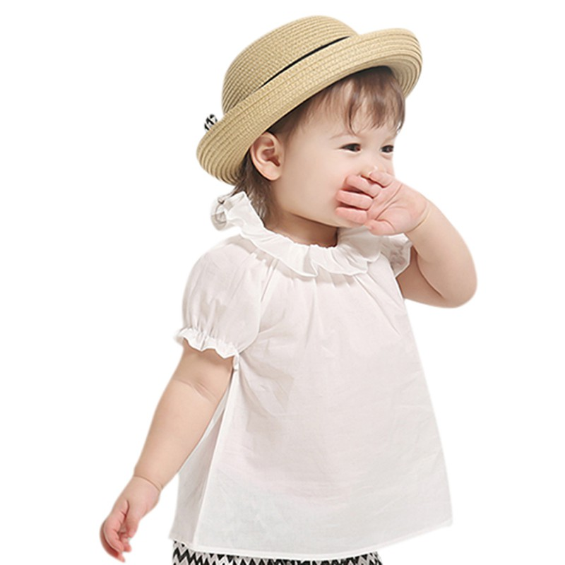 0-30M Toddler Newborn Baby Cute Sweet Baby Girls Puff Sleeve Blouse Kids White Shirt Summer Tops Kids Cloth
