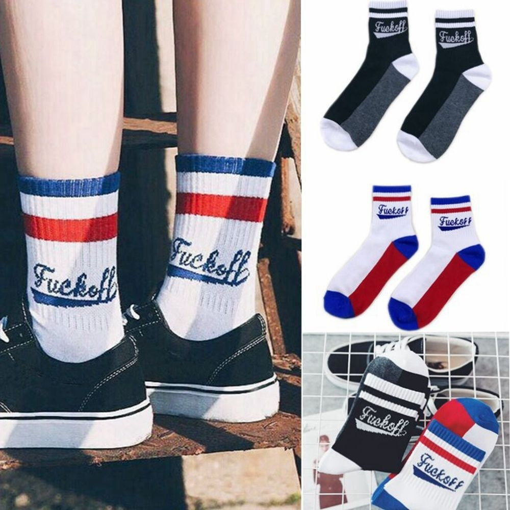 Fashion Casual Red Strip White Color Sport Long Cotton   Socks   for Women and Men Letter Black Color   Socks   for Female Harajuku 2019