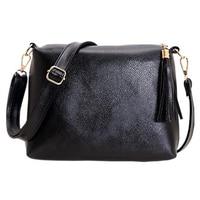 VSEN 2X Handbags Mini PU Messenger Bag Small Diagonal Women One Shoulder Tassel Bags(Black)
