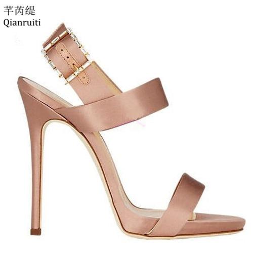 Qianruiti Summer Sexy Stiletto Heels Women Shoes Ankle Buckle Strap Slingback Women Pumps Kim Kardashian Style High Heel Sandals