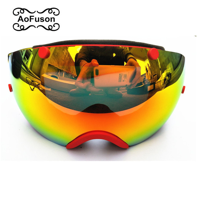 c1947a6e7a97 Professional Brand ski Goggles Double lens Anti-fog UV400 Big Spherical Ski  glasses Men Women Snow Skiing Skating Mask AFS-0032