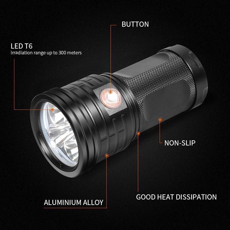 Ultra Powerful LED Searchlight 18*T6 LED Flashlight Torch Lanterna 3 Modes USB Charging Lamp Portable Power Bank Light By 18650