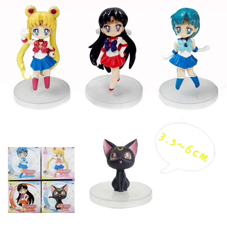 5Sets New The 20th Anniversary of the Sailor Moon Sailor Mars Sailor Mercury Luna Q Version <font><b>Action</b></font> <font><b>Figure</b></font> Toys Dolls 4pcs/set