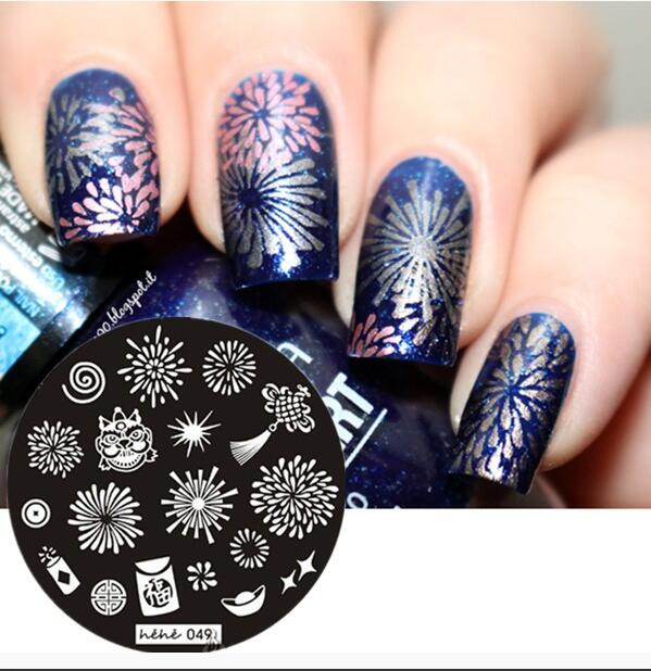 2018newround Nail Art Stamp Stamping Plates Template Fireworks Ghost