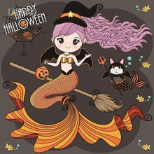 Laeacco Halloween Mermaid Pumpkin Lamp Spider Web Bat Photography Backgrounds Customized Photographic Backdrops for Photo Studio цена