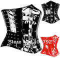 Spring New 2014 Fashion Woman Sexy Fetish Gothic Rock Punk Black Red PVC Vinyl Studded Rivet Boned Underbust Steel Busk Corset