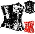 Spring New 2014 Fashion Woman Sexy Fetish Gothic Rock Punk Black Red PVC Vinyl Studded Rivet Boned Underbust Steel Busk Corset