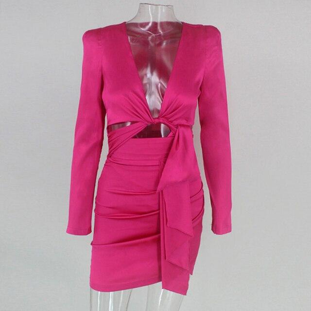 Kim Kardashian Autumn Bodycon Solid Elegant V Neck Dresses 5