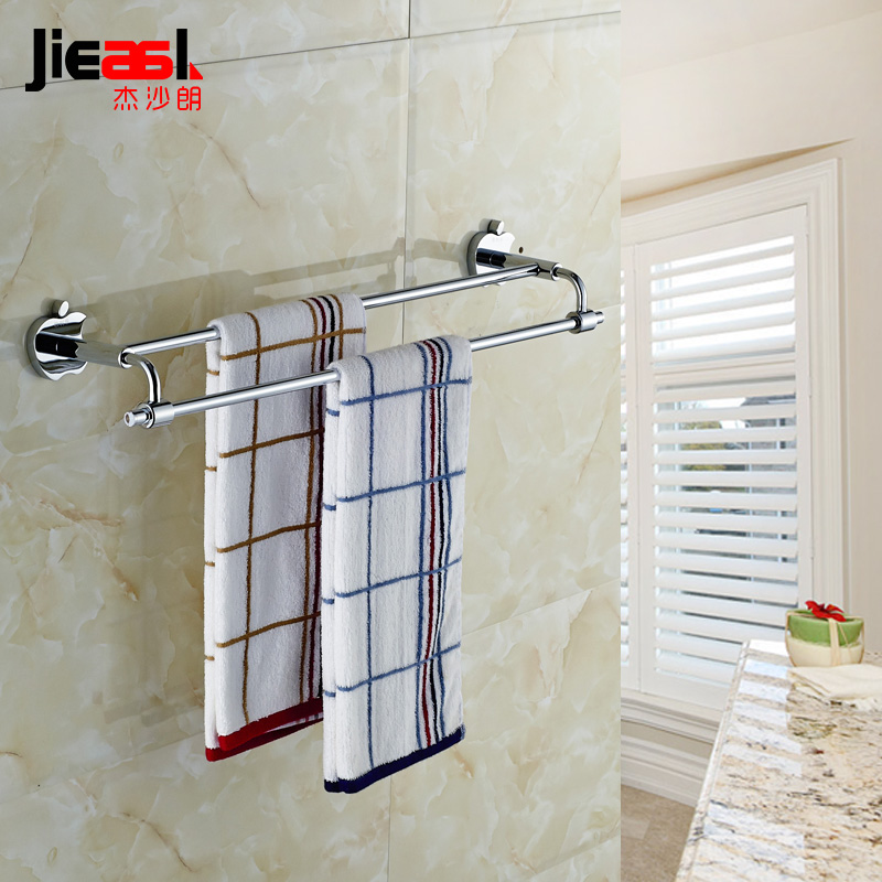 Jieshalang Brass Double Towel Bars for Bathroom 40 50 60cm  Apple Shape Double Towel Rack Wall Mounted Bathroom Hardware 6648 partol black car roof rack cross bars roof luggage carrier cargo boxes bike rack 45kg 100lbs for honda pilot 2013 2014 2015