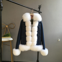 2018 New arrival natural rabbit fur liner denim parka with real fox fur trim collar winter warm women jean jacket