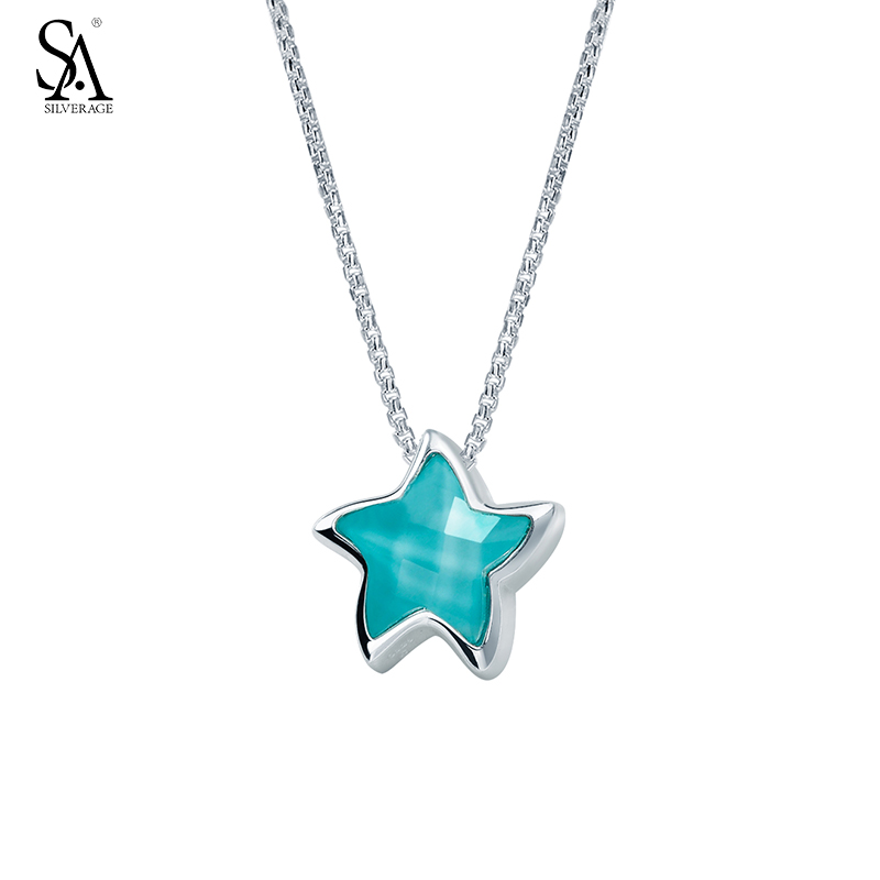 SILVERAGE Genuine 925 Sterling Silver Women Necklace Blue Vivid Starfish Pendant Necklace for Women Punk Jewelry trendy gothic vivid beaded pendant lace necklace for women