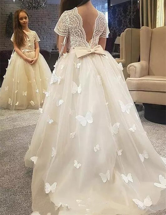 New Ivory White Flower Girl Dresses Lace 3D Butterflies Puffy Tulle Kids Birthday Christmas Dress Girls Formal Party GownsNew Ivory White Flower Girl Dresses Lace 3D Butterflies Puffy Tulle Kids Birthday Christmas Dress Girls Formal Party Gowns