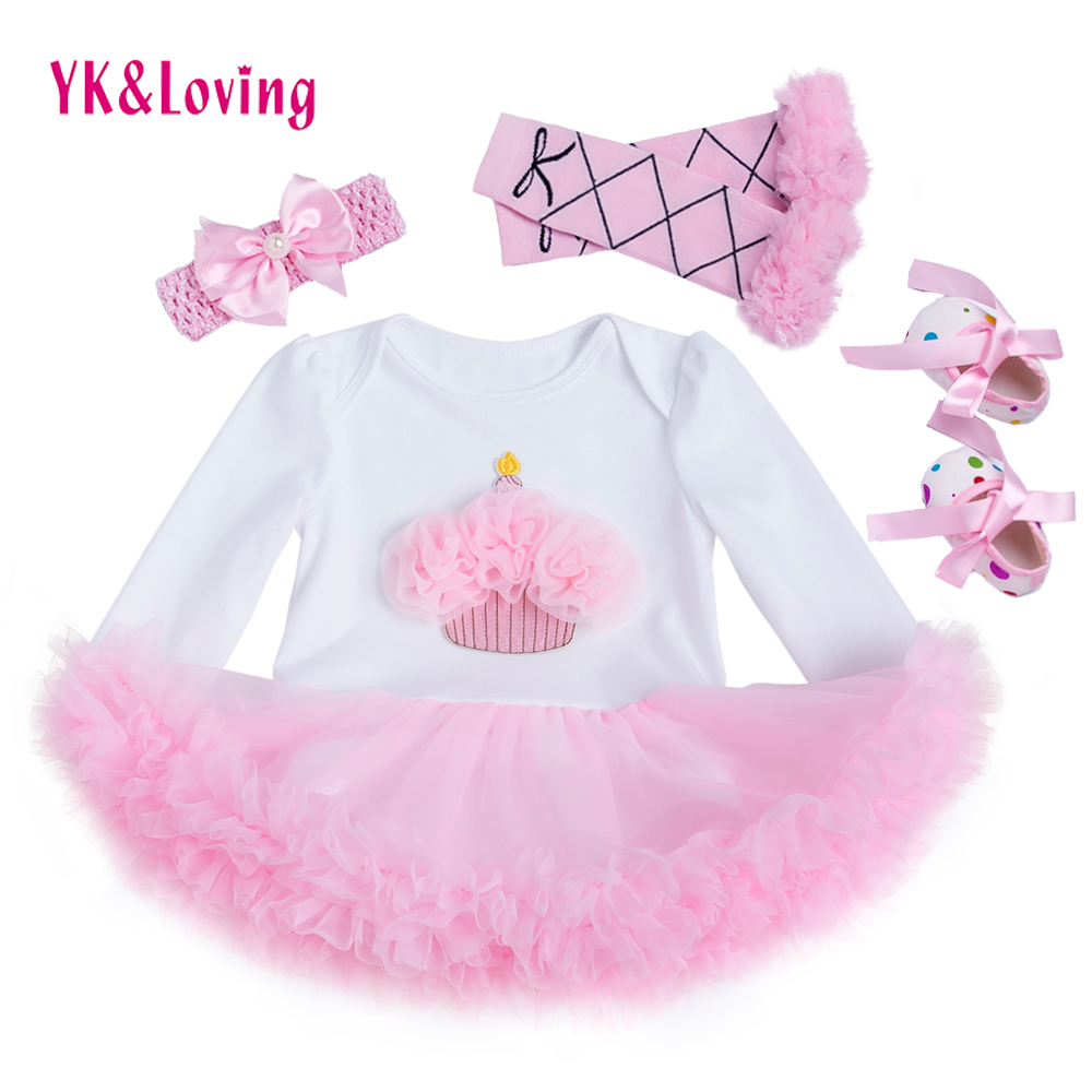 1 2 Birthday Baby Girl Clothes Romper Pink Dress Leg warmers Headband Shoes 4PCS Newborn Tutu Sets Infant Party Clothing цена