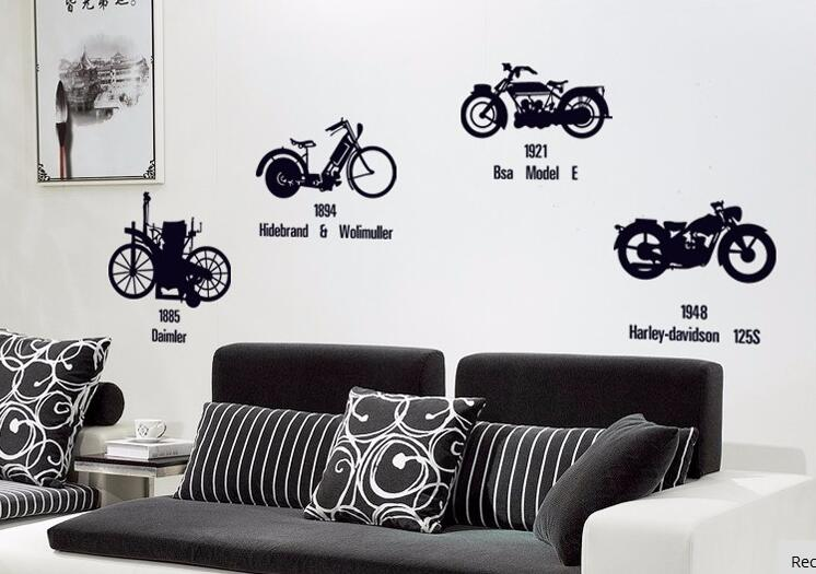Vintage Personalized bike wallpaper Home Decor art wall sticker wall pictures of home decoration