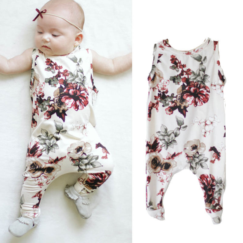 Kids Baby Girls Clothes 2017 Summer Sleeveless Peony Flower Baby Romper Jumpsuit Outfits Sunsuit Children Clothing